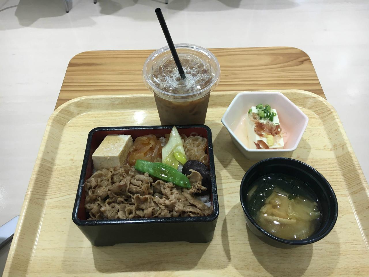 都庁食堂 牛丼定食 アイスコーヒー追加